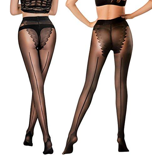 HONENNA 2 Pair Pantyhose with Back Seam Reinforced Bikini Control Top Semi Sheer Tights (Black, (True Support Pantyhose)