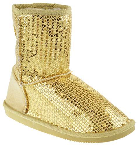 Pom-016KM Little Girls Sequin Slip On Shearling Boots Gold 3 ()