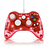 TNP USB Wired Gamepad Controller for PC & XBox 360 (Red) - Glow Lightning Joystick Joypad Supports Shock Vibration Feedback for PC Windows, Steam OS and Microsoft XBox 360 Slim [Xbox 360] [PC]