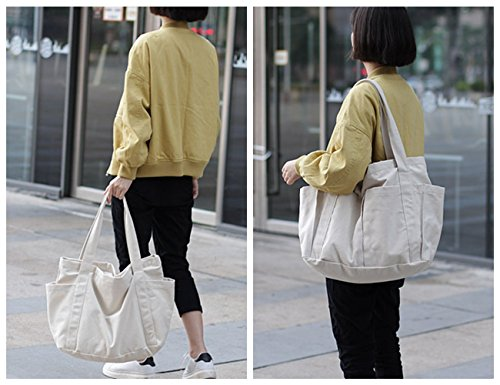 Canvas Shoulder Bag Large Beach Travel Shopper Tote Bag Casual Handbag Carry All Shopping Bag Hobo Style (White) by Gupiar (Image #6)