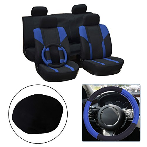 OCPTY Car Seat Cover, Stretchy Universal Seat Cushion w/Headrest Cover/Steering Wheel/Shoulder Pads 100% Breathable Automotive Accessories Washable Polyester for Most Cars(Black/Blue)