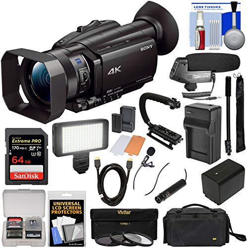 Sony Handycam FDR-AX700 4K HD Video Camera Camcorder with 64GB Card + Battery + Case + LED Light + Microphones + Stabilizer + Monopod + Filters + Kit (Sony Fdr Ax33 4k Ultra Hd Handycam)