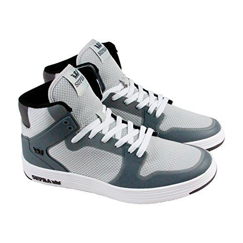 Supra Mens Vaider 2.0 High Top Skateboarding Sneaker Skate Shoe, Grey/White, 12 (Skateboarding Supra)