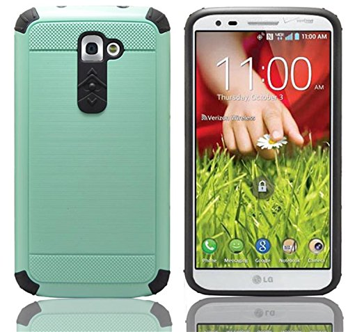 LG G2 Case Luxury Tuff Super Armor Hybrid Dual Layer Protective Cover for TMobile at&T Sprint LG G2 (Teal) (Best Protective Case For Lg G2)