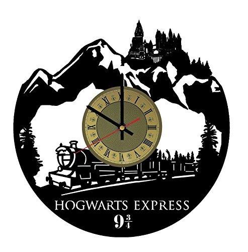Hogwarts Express Vinyl Record Wall Clock Harry Potter Clock Gift idea for Birthday, Christmas, Women, Men, Friends, Girlfriend Boyfriend and Teens - Decor for Bedroom Living Kids Room Nursery