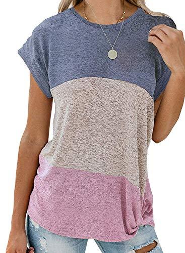 Arainlo Womens Fashion Off The Shoulder Tunic Shirt Color Block Printed Short Sleeve Twist Knot Blouses Plus Size Purple XL