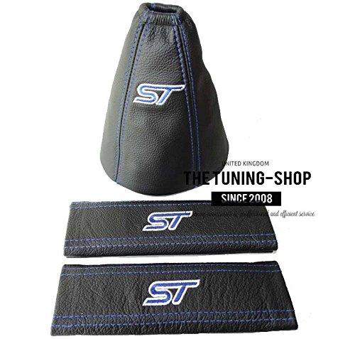 Für Ford Mondeo Mk32003-06manuell Schaltsack + Sicherheitsgurte Covers Black Leder blau ST Edition Stickerei
