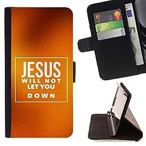 KingStore / Leather Etui en cuir / HTC DESIRE 816 / BIBLIA Jesús no le permitirá Abajo