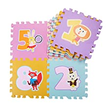 9 Pcs Multi-color Cute Animal EVA Foam Play Mats Floor Puzzle Crawling Play Game Mat for Baby Kids Childre Toddlers -Bright Color, Non-Toxic ,Environmental Material, Safe to Use (Numbers)