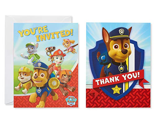 American Greetings Paw Patrol Party Supplies, Invite and Thank You Combo Pack, - Invitations Rescue Party Birthday
