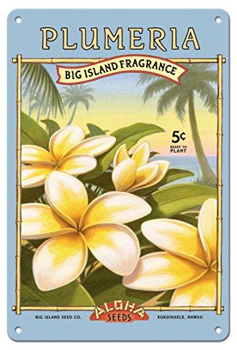 8in x 12in Vintage Tin Sign - Plumeria - Aloha Seeds - Big Island Seed Company - Big Island Fragrance by Kerne Erickson (Vintage Seed Signs)