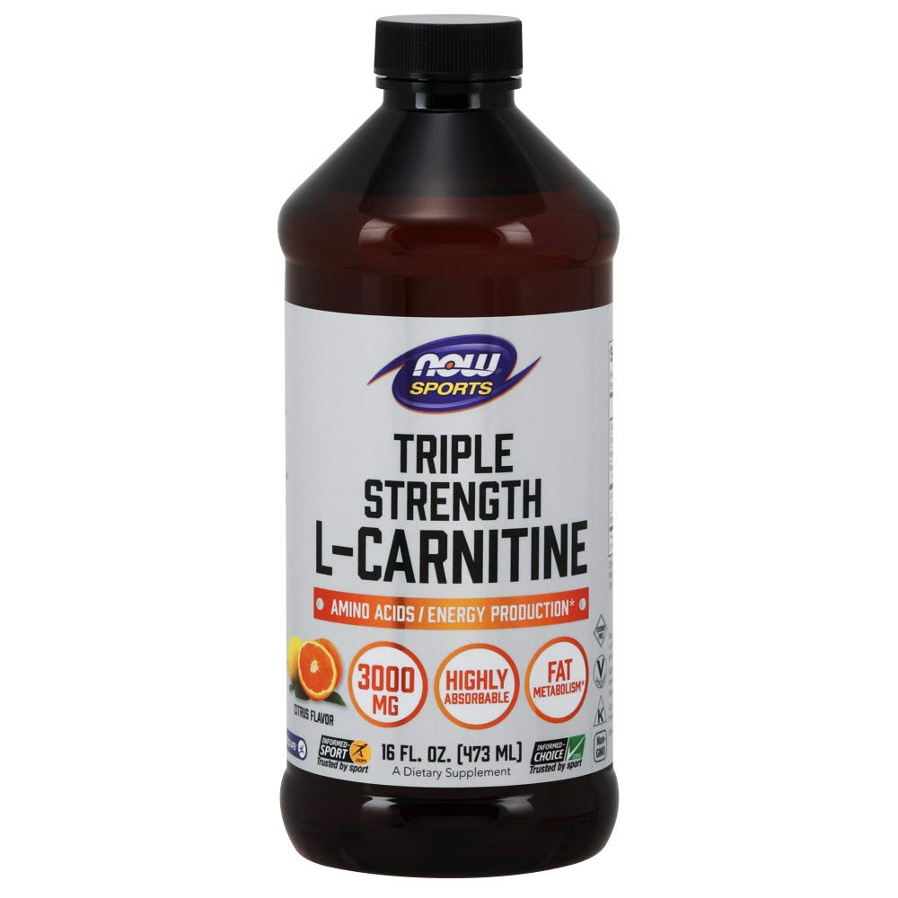 NOW Sports Nutrition, L-Carnitine Liquid, Triple Strength 3000 mg, Citrus, 16-Ounce by Now Sports