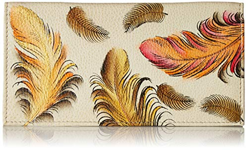 - Anuschka Women's Genuine Leather Checkbook Cover | Hand Painted Original Artwork | Floating Feathers Ivory