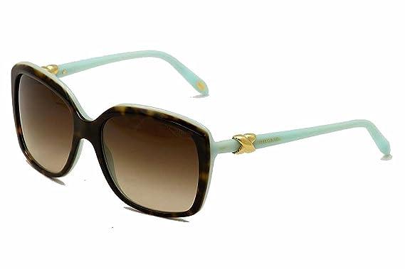 7d4ffe7876ed Tiffany   Co Women s TF4076 4076 8134 3B Tortoise Tiffany Blue Signature  Square Sunglasses