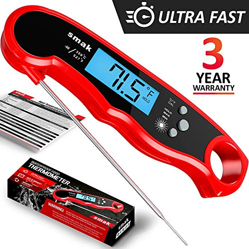 Digital Instant Read Meat Thermometer - Waterproof Kitchen Food Cooking Thermometer with Backlight LCD - Best Super Fast Electric Meat Thermometer Probe for BBQ Grilling Smoker Baking Turkey ()