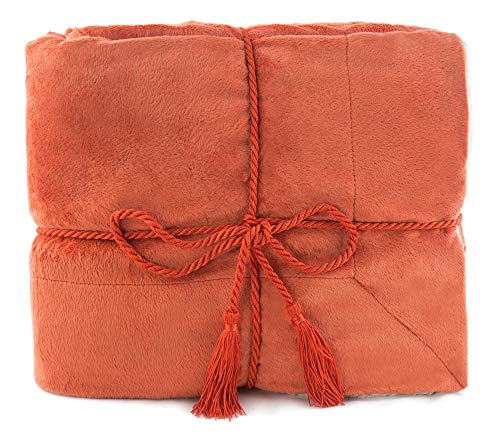 - Simplicity Faux Fur Luxury Sherpa Throw Blanket,Orange