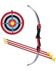 Tosbess Flecha y Arco Niños Tiro con Arco Juegos con 3 Flechas de Tiro, Regalo para Niños a Partir de 6 Años