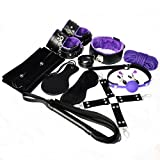 Bondage Bed Restraint Kit System | Fun & Pleasure | Black & Purple | Soft Leather with Furr | Adjustable Handcuffs, Anklecuffs | Soft Silicone Mouth Gag | Love Toys for Couples | 10 Pck Kit