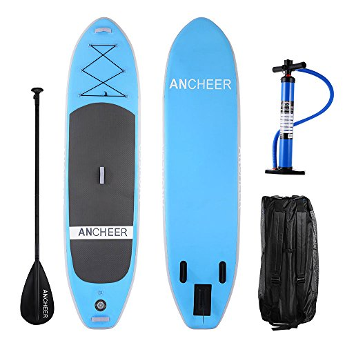 Ancheer Inflatable Sup Stand Up Paddle Board By Isup Board With Adjustable Paddle And Dual Action Pump And Backpack  10 Long X 30 Wide X 6  Thick  As10 Lg