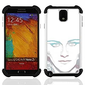 For Samsung Galaxy Note3 N9000 N9008V N9009 - Portrait White Light Woman Alien Green Eyes /[Hybrid 3 en 1 Impacto resistente a prueba de golpes de protecci????n] de silicona y pl????stico Def/ - Super Ma