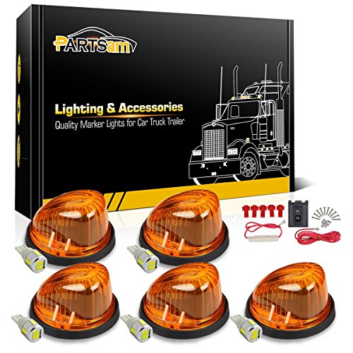 - Partsam 5X Cab Marker Round Shape Amber Light 1313A + High Power 6-5730-SMD 168 White LED Bulb+Wiring Pack Compatible with Chevrolet/GMC C/K 1973-1987 Pickup Truck