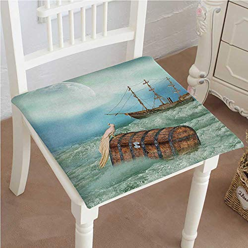 (Mikihome Dining Chair Pad Cushion Trunk in Waves with Bird Pirate Boat Green Light Caramel Fashions Indoor/Outdoor Bistro Chair Cushion 30