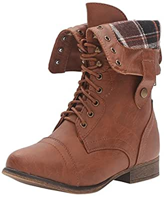 West Blvd Lagos-Combat Riding Boots, Brown Pu, 7