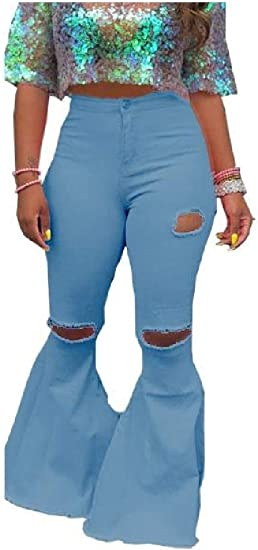EnergyWD Women's Denim Ripped-Holes Washed Jeans Faded Fashion Bell Pants