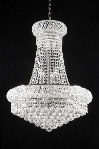 "French Empire Crystal Chandelier Chandeliers H32"" X W24″ – Good for Dining Room, Foyer, Entryway, Family Room and More!"