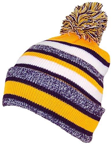 (Best Winter Hats Quality Striped Variegated Cuffed Beanie W/Large Pom (L/XL) - Purple/Gold)