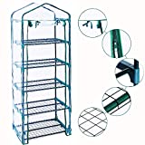 Homes Garden 5-Tier Shelves Mini Indoor/Outdoor Greenhouse Warm Tight Commercial PVC Clear Greenhouse Plant Flower Grow Tent Zipper Roll Up Front 27 in. L x 19 in. W x 76 in. H #G-G304A00