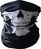 WOVTE Seamless Multi Function Skull Tube Tubular Half Face Mask Headband Headwear Bandana Neck Warmer Black