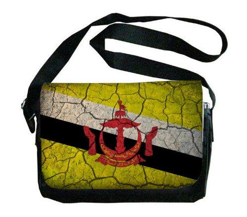 Brunei Flag Crackled Design Messenger Bag