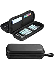 ProCase Hard Pen Pencil Case, 2-Layer EVA Hard Shell Travel Pencil Pouch Pen Holder, Large Capacity Pencil Storage Box for Offices and Schools with a Lanyard -Black