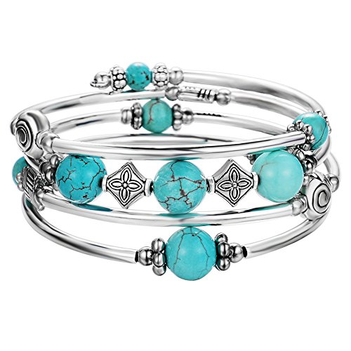Bangle Gift - Pearl&Club Beaded Bangle Wrap Turquoise Bracelet - Fashion Bohemian Jewelry Multilayer Charm Bracelet with Thick Silver Metal Beads for Women Girls Gifts (Turquoise)
