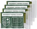 Swiss Safe Emergency Mylar Thermal Blankets (4-Pack) + Bonus Signature...