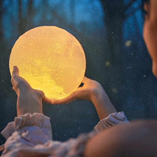 Wooden Mount (Moon Light Lamp, Luna Moon Lamp, Modern Home 3D Printing Lamp, Warm Yellow/Cool White Double Switch Night Light With Wooden Mount (Chargeable) (Medium))