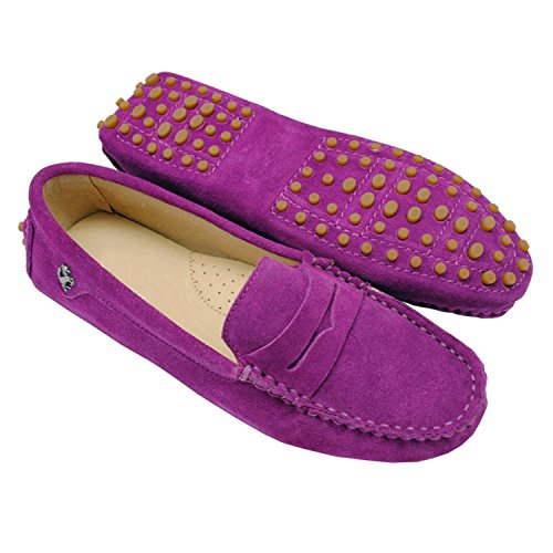 Minishion Girls Womens Casual Comfortable Purple Suede Leather Driving Moccasins Loafers Boat Shoes Flats 8 M - Trading House Summer Company