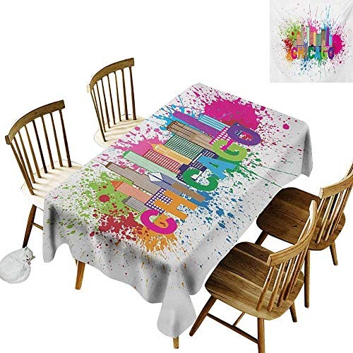 DUCKIL Stain-Resistant Tablecloth Chicago Skyline Splash of Colorful Paint Background with Text of Chicago and Cityscape Easy to Clean W70 xL102