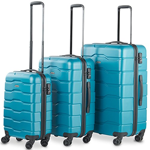 VonHaus Premium Teal 3 Piece Lightweight Luggage Set – Hardshell Travel Suitcase with TSA Integrated Lock, 4 Double Spinner Wheels - Cabin Bag, Medium and Large Case by VonHaus
