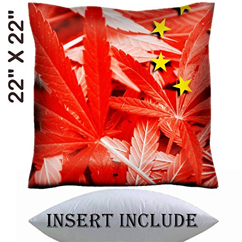22x22 Throw Pillow Cover with Insert - Satin Polyester Pillow Case Decorative Euro Sham Cushion for Couch Bedroom Handmade IMAGE ID 37089644 China Flag on cannabis background policy Legalization o ()