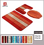 Bath Mat Sets 3 Piece Grand Era 3 Piece Bathroom Rug Polypropylene Fiber Mat Set and Contour Rug Set (19.7