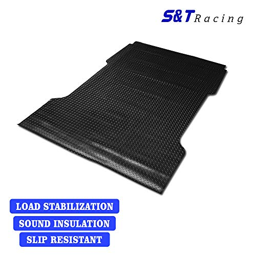S&T Racing 1997-2003 Ford F150/F250 Rubber Diamond | Black Flareside 6.5 Ft Short Truck Bed Floor Mat Carpet