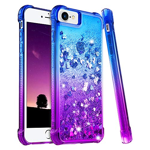 Ruky iPhone 6 6S 7 8 Case, iPhone 6s Glitter Case, Gradient Quicksand Series Bling Flowing Liquid Floating TPU Bumper Cushion Protective Girls Women Case for iPhone 6 6s 7 8 4.7 inches (Blue Purple) (Iphone 6 Bumper Case For Women)
