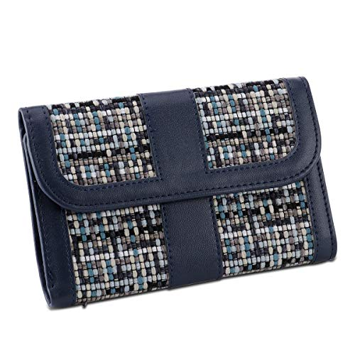 HAWEE Ladies Clutch Leather Card Organizer Travel Purse Woven Linen Wallets for Women, Blue