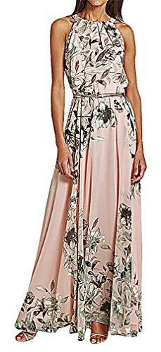 US&R, Women's Elegant Pleated Floral Print Belted Halter Neck Maxi Shift Dress, Pink 4 ,Manufacturer(S)