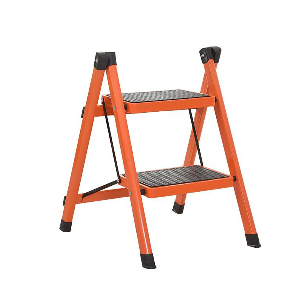 orange 3 tiers DNSJB Folding Step Stool Ladder for Adults Iron Kitchen Folding Stepladder with Non-Slip Treads (color   orange, Size   3 Tiers)