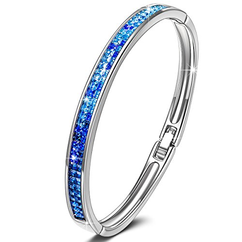 KATE LYNN Lifespring Bangle Bracelet Made with Blue Swarovski Crystal Jewelry Gifts for Her Valentines Gifts for Women Her Anniversary Birthday Gifts for Wife Mom Sisters Aunt Daughter Teen Girls