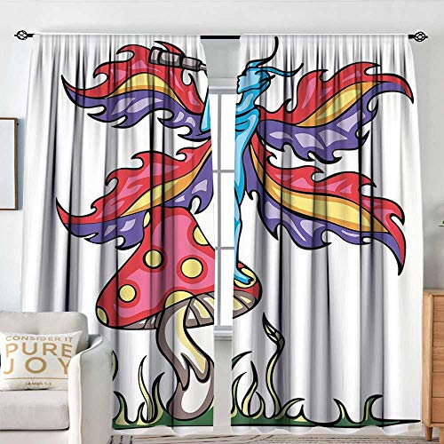 NUOMANAN Insulating Blackout Curtains Mushroom,Fairy Elf on Agaric Mushroom with Monocular Tube Colorful Artistic Wings Mythical,Multicolor,Drapes Thermal Insulated Panels Home décor 84