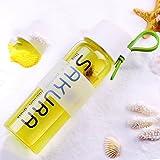 Green Bpa-Free Sakura Glass Water Bottle Drinking Bottle Travel Mug With Sleeve 490Ml